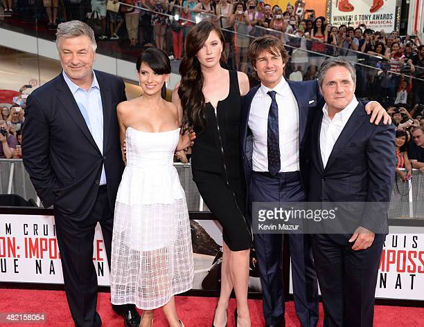 Alec Baldwin Hilaria Baldwin Ireland Baldwin Tom Cruise and Chairman and CEO of Paramount Pictures Brad Grey attend the New York premiere of 'Mission...