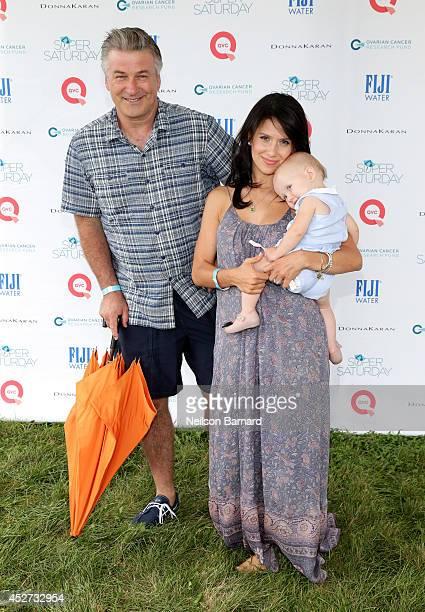 Alec Baldwin, Hilaria Thomas and Carmen Baldwin attend QVC Presents Super Saturday LIVE! on July 26, 2014 in Water Mill City.