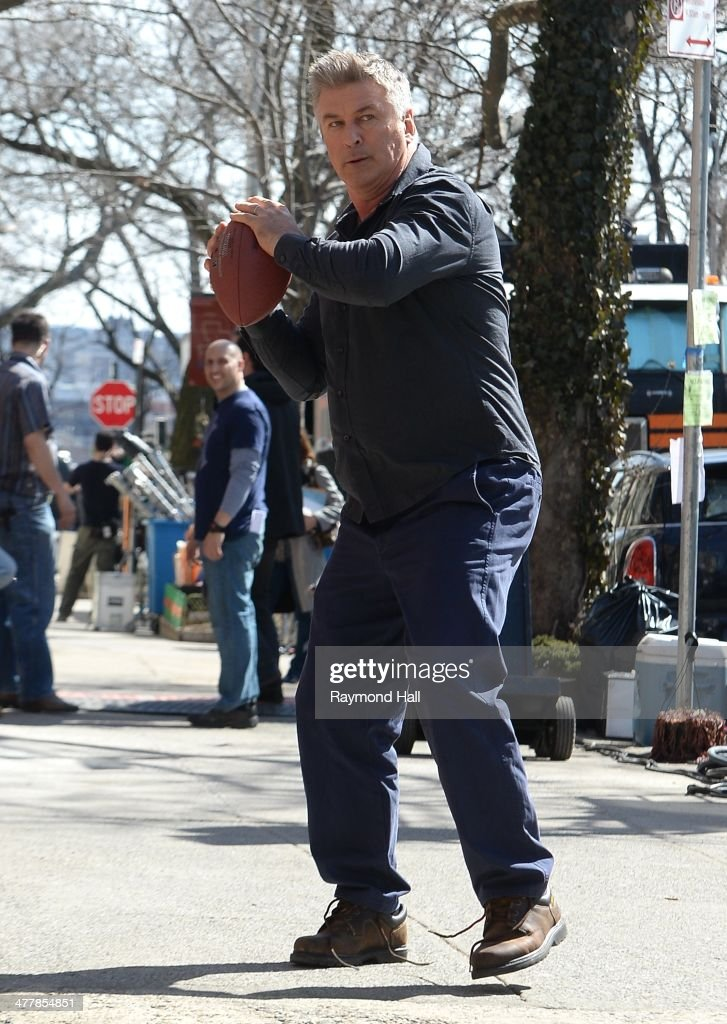 Alec Baldwin is seen on film set of playing quatterback on the 'Still Alice'on March 11, 2014 in New York City.