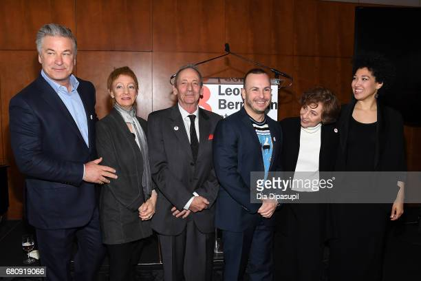 Alec Baldwin Jamie Bernstein Alexander Bernstein Yannick NezetSeguin Nina Bernstein and Julia Bullock attend the Leonard Bernstein at 100 press event...