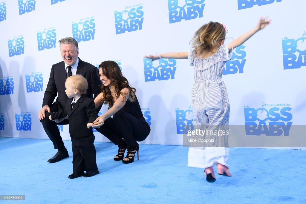 Alec Baldwin, Rafael Thomas Baldwin, Hilaria Baldwin and Carmen Gabriela Baldwin attend 'The Boss Baby' New York Premiere at AMC Loews Lincoln Square 13 theater on March 20, 2017 in New York City.