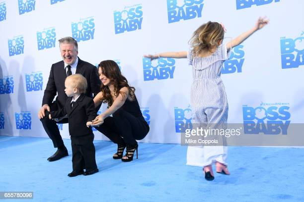 Alec Baldwin Rafael Thomas Baldwin Hilaria Baldwin and Carmen Gabriela Baldwin attend 'The Boss Baby' New York Premiere at AMC Loews Lincoln Square...