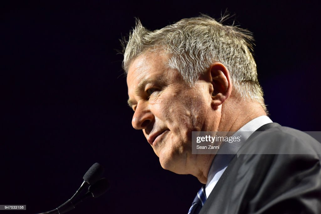 Alec Baldwin speaks at NYU Tisch School of the Arts GALA 2018 at Capitale on April 16, 2018 in New York City.