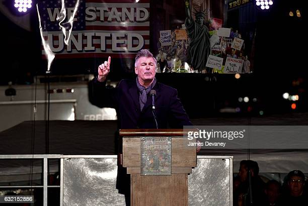 Alec Baldwin speaks at We Stand United NYC Rally outside Trump International Hotel Tower on January 19 2017 in New York City