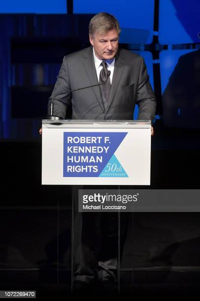 Alec Baldwin speaks onstage during the 2019 Robert F Kennedy Human Rights Ripple Of Hope Awards on December 12 2018 in New York City