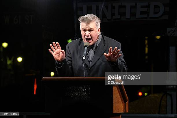 Alec Baldwin speaks onstage during the We Stand United NYC Rally outside Trump International Hotel Tower on January 19 2017 in New York City