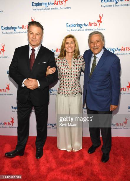 Alec Baldwin Susan Benedetto and Tony Bennett pose as Tony Bennett and Susan Benedetto celebrate the 20th Anniversary of Exploring the Arts on April...