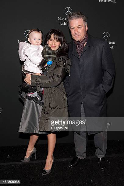 Alec Baldwin, wife Hilaria Baldwin, and daughter Carmen Baldwin are seen during Mercedes-Benz Fashion Week Fall 2015 at Lincoln Center for the...