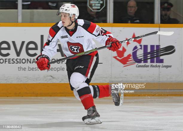 Alec Belanger of the Ottawa 67's skates against the Peterborough Petes during an OHL game at the Peterborough Memorial Centre on March 14 2019 in...