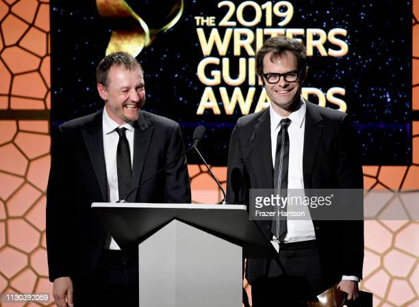 Alec Berg and Bill Hader accept an award onstage during the 2019 Writers Guild Awards LA Ceremony at The Beverly Hilton Hotel on February 17 2019 in...