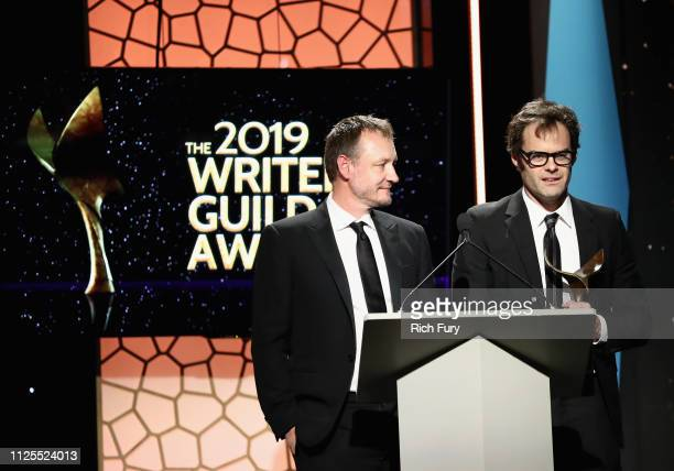 "Alec Berg and Bill Hader winners of Episodic Comedy for ""Chapter One Make Your Mark"" speak onstage during the 2019 Writers Guild Awards LA Ceremony..."