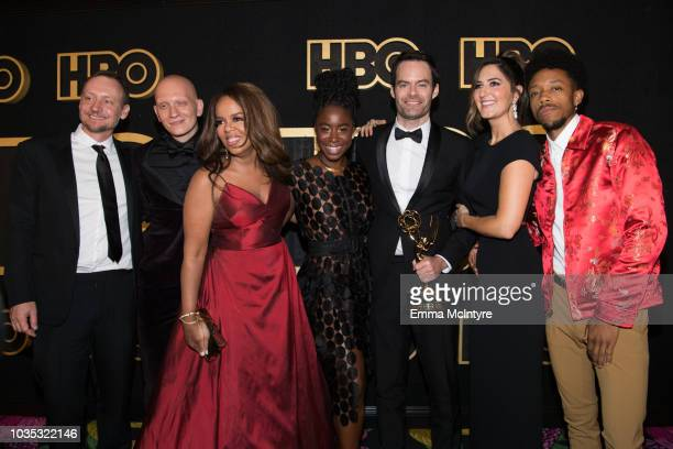 Alec Berg Anthony Carrigan Paula Newsome Kirby HowellBaptiste Bill Hader D'Arcy Carden and Darrell BrittGibson arrive at HBO's Post Emmy Awards...