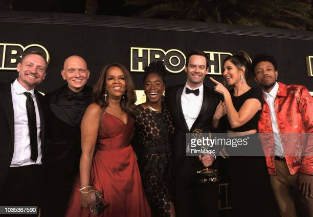 Alec Berg Anthony Carrigan Paula Newsome Kirby HowellBaptiste Bill Hader D'Arcy Carden and Darrell BrittGibson arrive at HBO's Official 2018 Emmy...