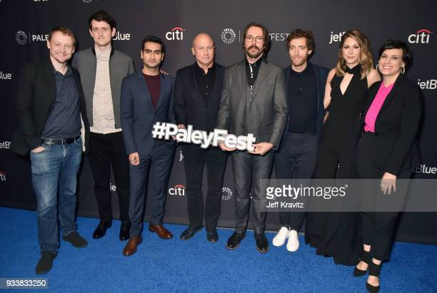 Alec Berg Zach Woods Kumail Nanjiani Mike Judge Martin Starr Thomas Middleditch Amanda Crew and Stacey Wilson Hunt attend HBO's Silicon Valley Panel...