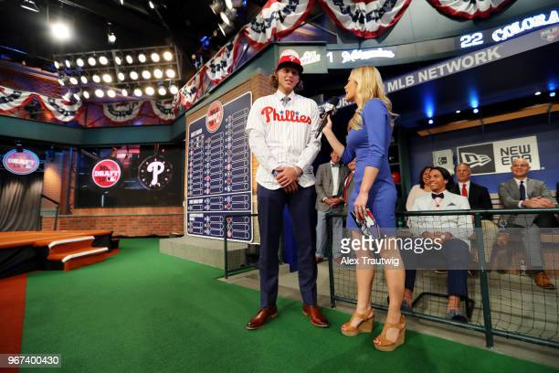 Alec Bohm who selected third overall in the 2018 MLB Draft by the Philadelphia Phillies talks with MLB Network host Alexa Datt during the 2018 Major...