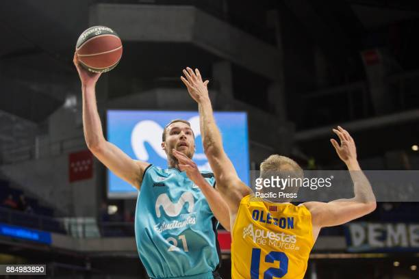 Alec Brown and Brad Oleson during UCAM Murcia victory over Movistar Estudiantes in Liga Endesa regular season game celebrated in Madrid at Wizink...