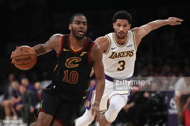 Alec Burks of the Cleveland Cavaliers dribbles past Josh Hart of the Los Angeles Lakers during the second half of a game at Staples Center on January...