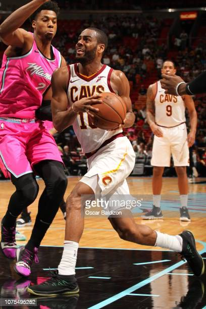 Alec Burks of the Cleveland Cavaliers drives to the basket against the Miami Heat on December 28 2018 at American Airlines Arena in Miami Florida...