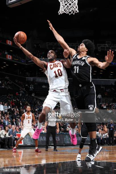 Alec Burks of the Cleveland Cavaliers goes to the basket against the Brooklyn Nets on December 3 2018 at the Barclays Center in Brooklyn New York...