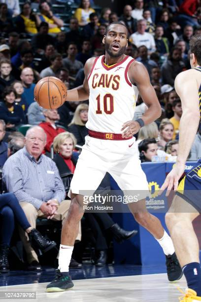 Alec Burks of the Cleveland Cavaliers handles the ball against the Indiana Pacers on December 18 2018 at the Bankers Life Fieldhouse in Indianapolis...