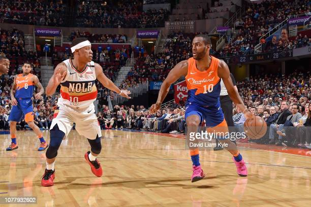 Alec Burks of the Cleveland Cavaliers handles the ball against Tim Frazier of the New Orleans Pelicans on January 5 2019 at Quicken Loans Arena in...