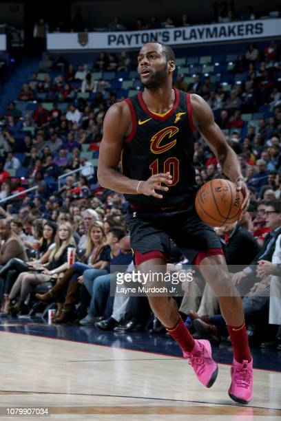 Alec Burks of the Cleveland Cavaliers handles the ball during the game against the New Orleans Pelicans on January 9 2019 at the Smoothie King Center...