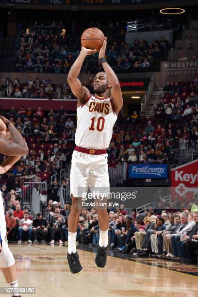 Alec Burks of the Cleveland Cavaliers shoots the ball against the New York Knicks on December 12 2018 at Quicken Loans Arena in Cleveland Ohio NOTE...