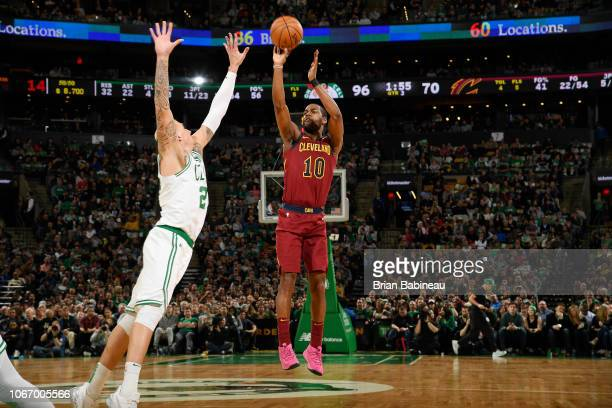 Alec Burks of the Cleveland Cavaliers shoots the ball against the Boston Celtics on November 30 2018 at the TD Garden in Boston Massachusetts NOTE TO...