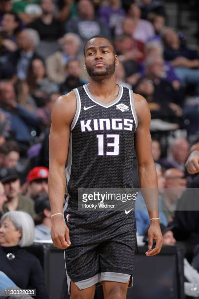 Alec Burks of the Sacramento Kings looks on during the game against the Boston Celtics on March 6 2019 at Golden 1 Center in Sacramento California...