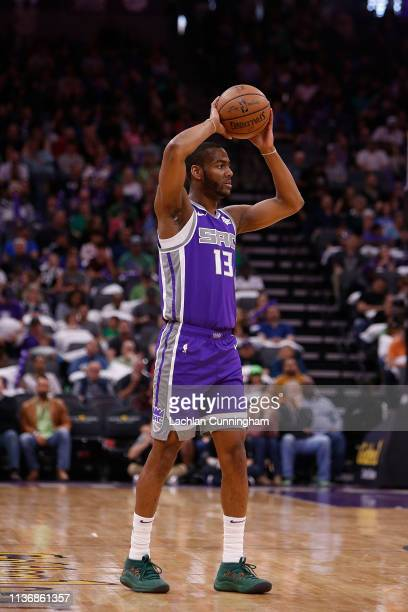 Alec Burks of the Sacramento Kings looks to pass the ball against the Chicago Bulls at Golden 1 Center on March 17 2019 in Sacramento California NOTE...