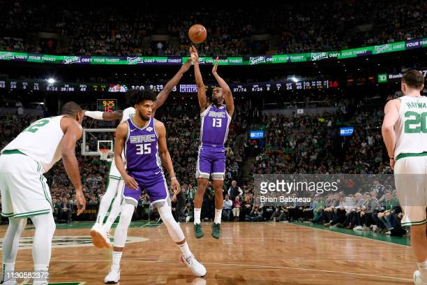 Alec Burks of the Sacramento Kings shoots the ball against the Boston Celtics on March 14 2019 at the TD Garden in Boston Massachusetts NOTE TO USER...