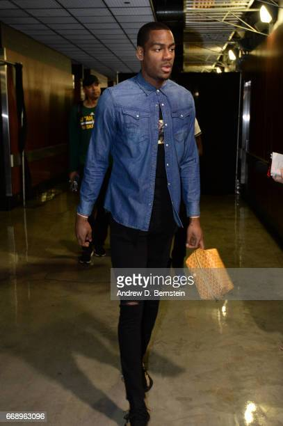 Alec Burks of the Utah Jazz arrives for Game One of Round One during the 2017 NBA Playoffs against the LA Clippers on April 15 2017 at STAPLES Center...