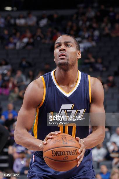 Alec Burks of the Utah Jazz attempts a freethrow shot against the Sacramento Kings on March 29 2017 at Golden 1 Center in Sacramento California NOTE...
