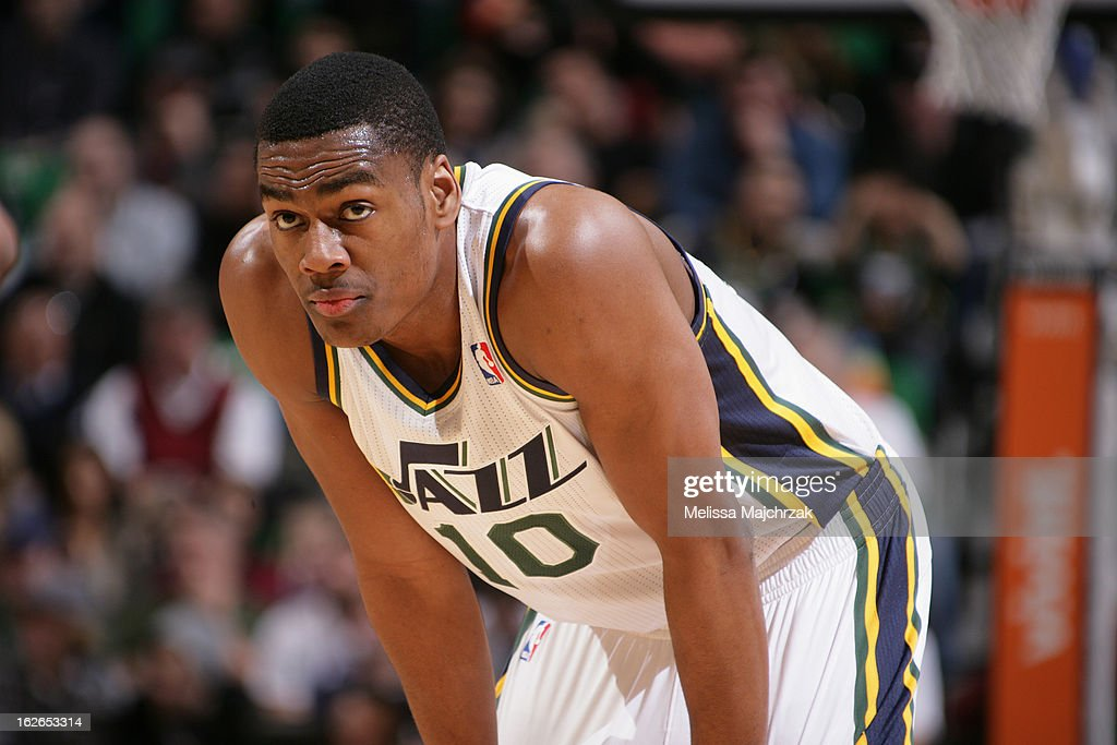 Alec Burks #10 of the Utah Jazz awaits a foul shot against the Houston Rockets at Energy Solutions Arena on January 28, 2013 in Salt Lake City, Utah.