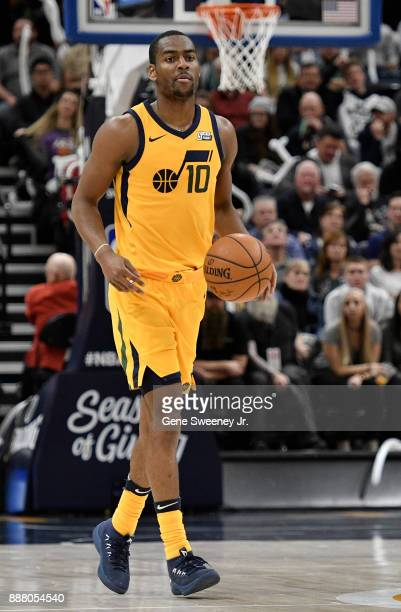 Alec Burks of the Utah Jazz brings the ball up court against the Houston Rockets in the second half of the 112101 win by the Rockets at Vivint Smart...