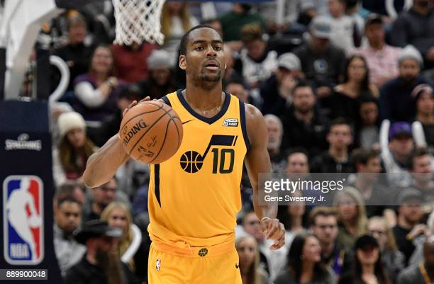 Alec Burks of the Utah Jazz brings the ball up court during their game against the Houston Rockets at Vivint Smart Home Arena on December 7 2017 in...