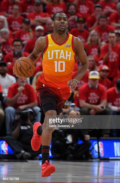 Alec Burks of the Utah Jazz brings the ball up court in the first half during Game Three of Round Two of the 2018 NBA Playoffs against the Houston...