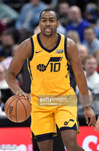 Alec Burks of the Utah Jazz controls the ball against the Houston Rockets in the second half of the 112101 win by the Rockets at Vivint Smart Home...