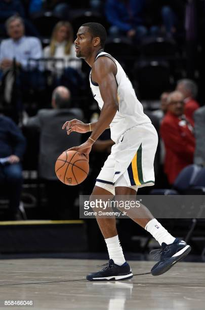 Alec Burks of the Utah Jazz controls the ball against the Maccabi Haifa in preseason action at Vivint Smart Home Arena on October 4 2017 in Salt Lake...