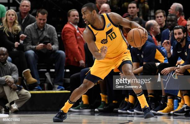 Alec Burks of the Utah Jazz controls the ball in the first half against the Houston Rockets at Vivint Smart Home Arena on December 7 2017 in Salt...