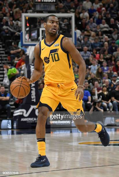Alec Burks of the Utah Jazz dribbles the ball during a game against the Indiana Pacers at Vivint Smart Home Arena on January 15 2018 in Salt Lake...
