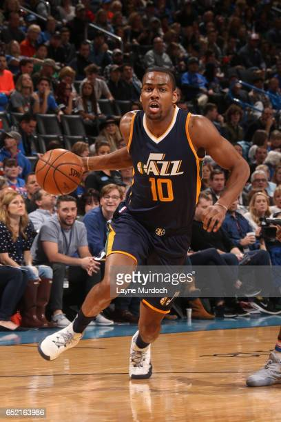 Alec Burks of the Utah Jazz drives to the basket during a game against the Oklahoma City Thunder on March 11 2017 at Chesapeake Energy Arena in...