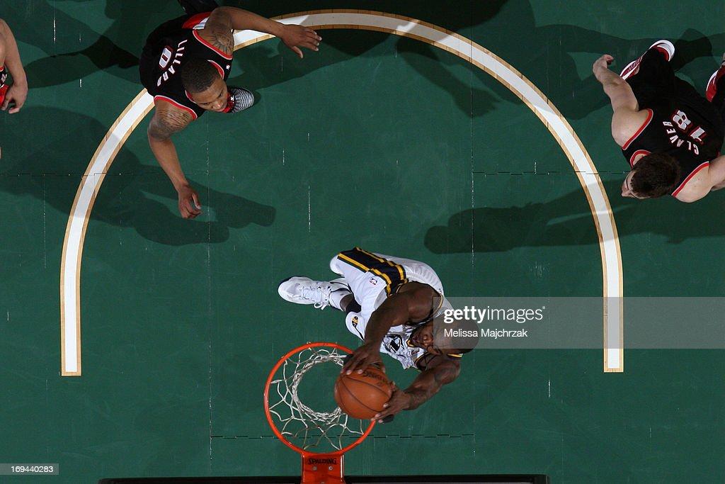 Alec Burks #10 of the Utah Jazz dunks against the Portland Trail Blazers at Energy Solutions Arena on April 1, 2013 in Salt Lake City, Utah.