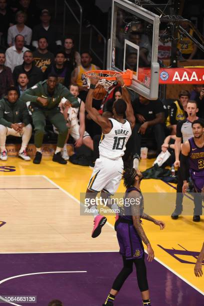 Alec Burks of the Utah Jazz dunks the ball against the Los Angeles Lakers on November 23 2018 at STAPLES Center in Los Angeles California NOTE TO...