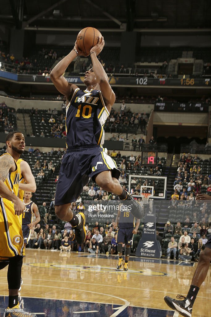 Alec Burks #10 of the Utah Jazz goes to the basket during the game between the Indiana Pacers and the Utah Jazz on December 19, 2012 at Bankers Life Fieldhouse in Indianapolis, Indiana.
