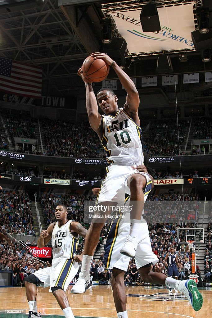 Alec Burks #10 of the Utah Jazz grabs a rebound against the Oklahoma City Thunder on February 12, 2013 in Salt Lake City, Utah.