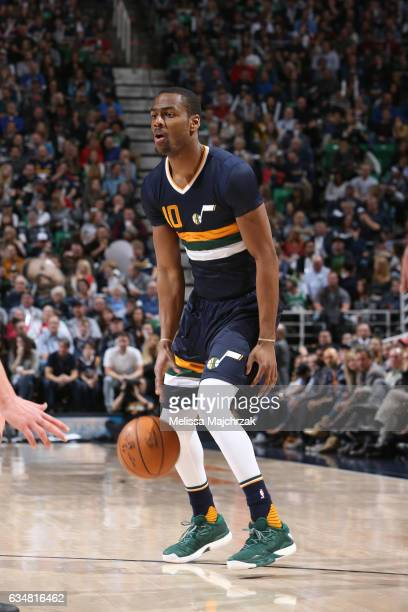 Alec Burks of the Utah Jazz handles the ball against the Boston Celtics on February 11 2017 at vivintSmartHome Arena in Salt Lake City Utah NOTE TO...