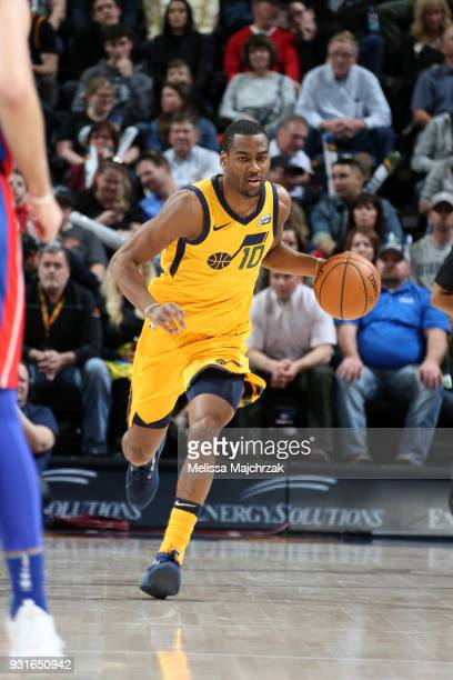 Alec Burks of the Utah Jazz handles the ball against the Detroit Pistons on March 13 2018 at vivintSmartHome Arena in Salt Lake City Utah NOTE TO...