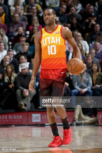 Alec Burks of the Utah Jazz handles the ball against the Golden State Warriors on January 30 2018 at vivintSmartHome Arena in Salt Lake City Utah...