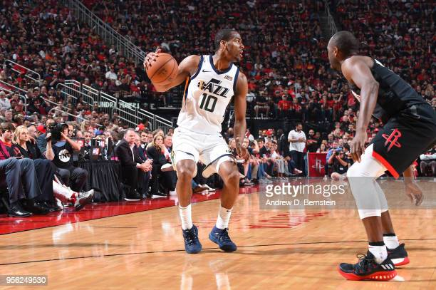 Alec Burks of the Utah Jazz handles the ball against the Houston Rockets during Game Five of the Western Conference Semifinals of the 2018 NBA...